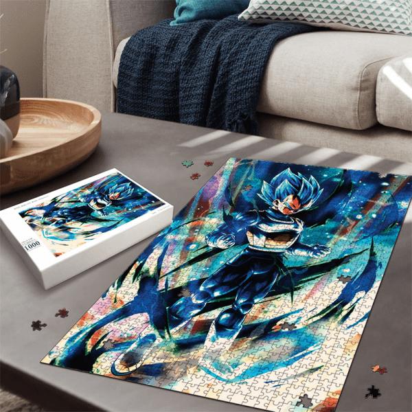 Dragon Ball Legends Vegeta Super Saiyan Blue Electrifying Portrait Puzzle - Saiyan Stuff