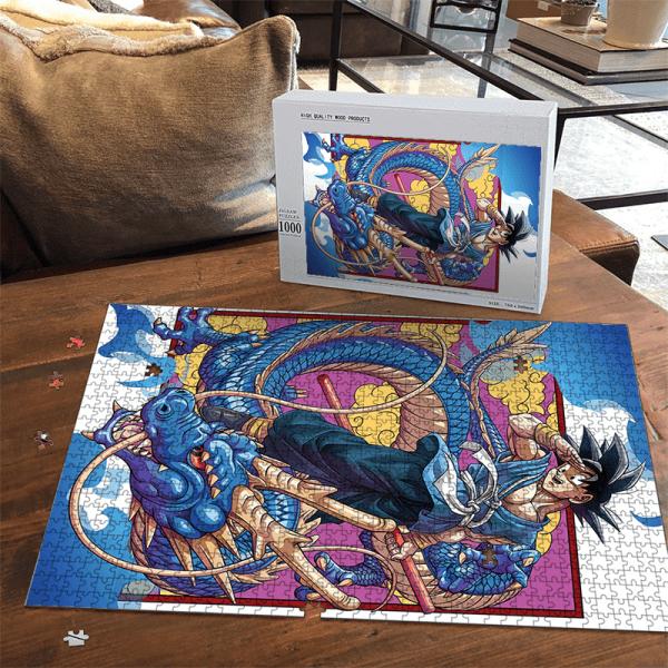 Dragon Ball Son Goku Kakarot Blue Shenron Cool Portrait Puzzle - Saiyan Stuff