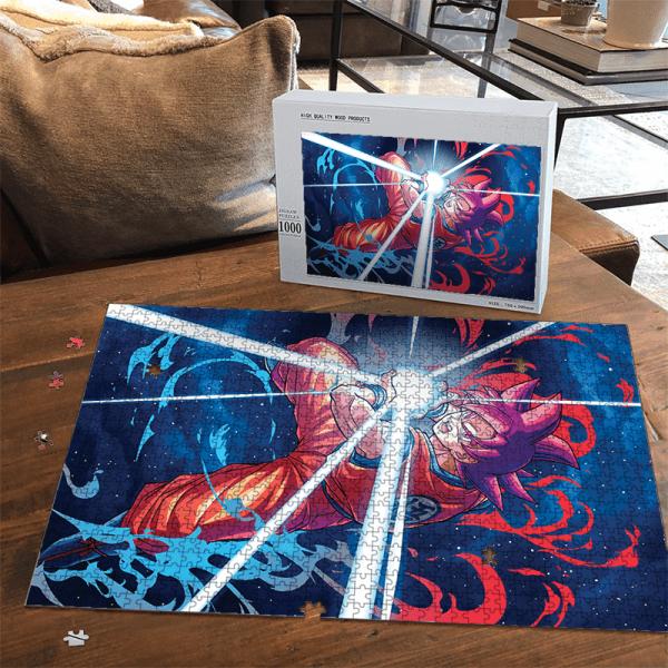 Dragon Ball Z Son Goku Super Saiyan Red Kamehameha Portrait Puzzle - Saiyan Stuff