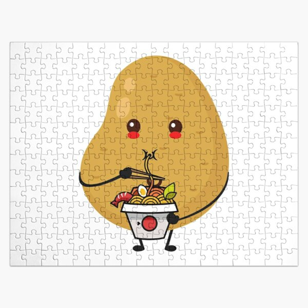 Funny Potato Eating Ramen Noodle Kawaii Anime Tee Japanese Gift Jigsaw Puzzle RB0605 product Offical Anime Puzzles Merch